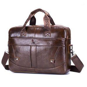 Sac de bureau pour hommes pour hommes Sacs en cuir véritable porte-documents Hommes 15Inch sac à ordinateur portable sacs en cuir Messenger Sacs1