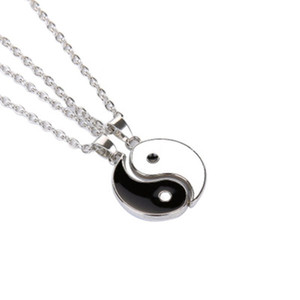 Paired Chain Pendants For Couples Tai Chi Yin Yang Necklace For Women Leather Pendants White Black Friendship Couples Necklaces