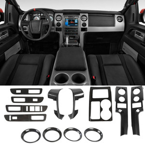 ABS Car Steering Wheel Cover Gear Panel Internal kit Dcoration For Ford F150 2009-2014 Carbon Fiber 13PC