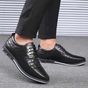 Genuine Leather Mens Walking Shoes Breathable Male Sneakers Lace -Up Oxfords Dress Business Formal Wedding Big Size 2021