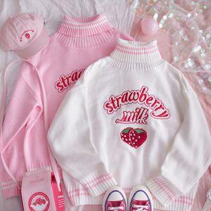 Korean Kawaii Strawberry Milk Embroidered Sweater Schoolgirl WinterTops Preppy Style Pink White Loose turtleneck Women top