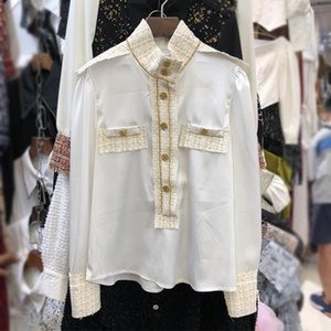 DEAT 2020 Autumn women new style fashion stand collar long sleeve single breasted patchwork casual slim bottoming shirt RD520