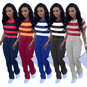 Women Summer Outfits Designer Two Piece Short Sleeve T-shirt+Pants Striped Sports Set Casual Female Hot long Pants Jogging Suit S-2XL