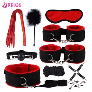 VRDIOS BDSM Bondage Set Handcuffs Plush Handcuffs Nipples Clip Whip Blindfold Mouth Gag Adult Sex Toys For Woman Couples Y201118