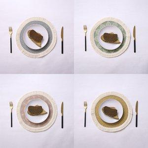 Placemats redondos establecidos para 2 piezas de algodón tejido 33x33cm placas florales para comedor con borlas con flecos lavado de 13 pulgadas MAT Y1127