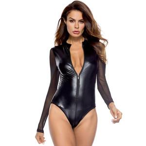V-ausschnitt Frauen Bodysuits Dame Erotik Sexy Leder Babypuppe Sexy Hot Pole Dance Club Sexy Kleidung für Femme
