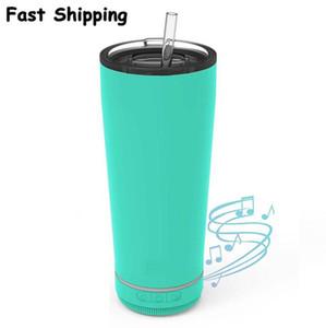 2021 Novo 18oz Creative Bluetooth Music musical Tumbler à prova d 'água alto-falante duplo parede térmica aço inoxidável de aço portátil xícara de café branco presentes
