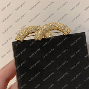 Designer Brooch Classic Double Letter Logo Inlaid Diamond Pins Fashion Luxury Jewelry Wholesale Price With Box L-C15