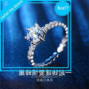 Creative Honeycomb Six Glaw Micro Set Zircon Fashion Temperament 1 Mossan Diamond Proposition Anillo de lujo