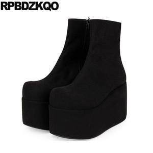 flatform 12 44 goth big size women side zip boots fetish platform creepers shoes ankle black fall high heel designer plus 13 45