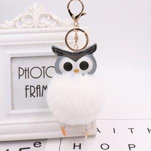 Luxury owl ball pendant PU leather animal plush Keychain rings Rex rabbit fur women's bag car pendant NE1196-1