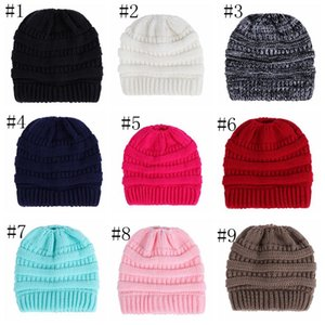 Knitted Cap Ponytail Cap Women Caps Fashion Beanie Outdoor Ski Beanies Winter Warm Wool Knitting Hat Party Hats Supplies 14 styles DDC4252