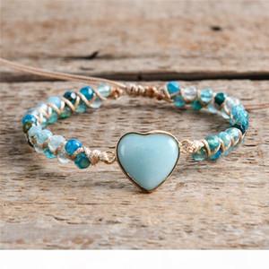 Heart Shape Classic Charm Bracelets String Braided Macrame Bracelets Amazonite Stone Wrap Bracelet Femme Women Jewelry