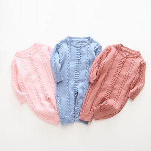 3 цвета новорожденного младенца ромпер зимой вязаный комбинезон с кнопкой младенческой девушки принцесса длинные рукава onsyies одежда тела