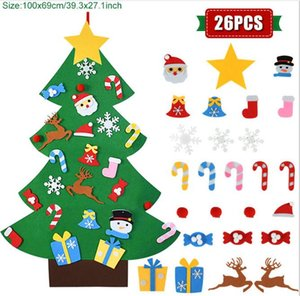 Kids DIY Christmas Ornaments Santa Claus Xmas Tree Felt ChristmasTree Christmas Decoration for Home 2021 New Year Gifts