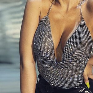 Akyzo 2021 Sexy Halter Rhinestone Tank Tops Moda Donna Backless Summer Festival Nightclub Abbigliamento Cropped Top