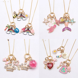 Alloy Pendants Necklace Plated Gold Crown Drop Oil Sweet Mermaid Lovely Love Heart Shaped Rainbow Chain Kids Jewelry Necklaces 5nj K2