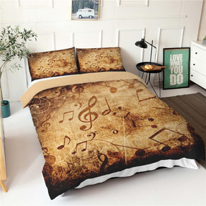 3d Print Bed Cover Set Musical Notes Pattern Double Bedspread Duvet Cover King Queen Size Bed Sheets With Pillowcases
