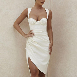 Adyce 2020 New Summer Women Fashion White Sleeveless Dress Sexy Spaghetti Strap Chic Club Celebrity Evening Runway Party Dresses