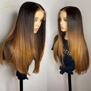 ombre pre plucked Closure Honey Blonde Color 인간의 머리 가발 HD 투명한 13x6 레이스 프론트 가발 Black Women Brazilian Full