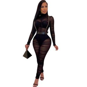 2020 New manches longues noir sexy moulante pour les femmes Jumpsuit Mesh See Through Skinny barboteuses Femme Drapée Going Out Club de Salopette