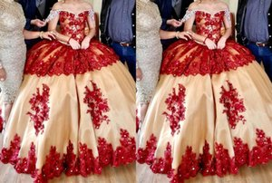 2021 Red Three Dimensional flowers Champagne Quinceanera Prom dresses Crystal Lace Tulle Evening Formal Gowns Sweet 16 Vestidos De Dress