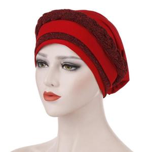 New autumn and winter bright silk cloth braid milk silk can hide hair turban hat two-color fight Muslim turban hat