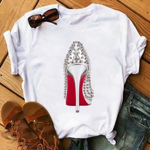 High Heels Shoes Print T shirts Women Vogue T Shirt Femme Funny Tshirt 90s Punk Hipster Streetwear Short Sleeves Tops Tee