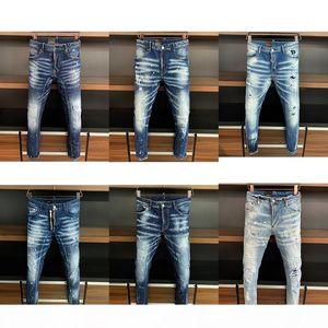 5a Top quality Designer Mens jeans Motorcycle Skinny biker Slim Ripped hole stripes Luxurys Fashion Denim pants D2 jean trousers apparel