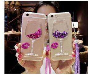 Cajas de teléfono de cristal de diamante de lujo Diamond Quicksand Liquid Funda flotante Vino Champagne Clear TPU Back Shell Funda para iPhone 8 x 11 Pro