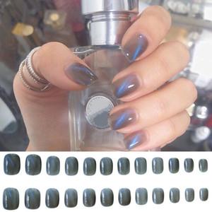 24Pcs Blue Cat Eye Design Full Cover False Decal Nail Art Accessory Sticker