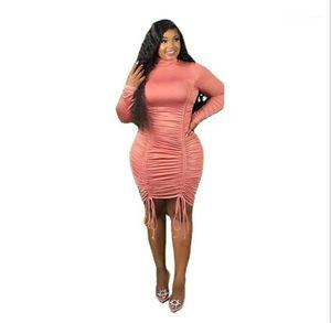 Kleider kordelzug designer bydcon kleider sexy gestapelte high haus frauen kleidung soild farbe womens plus größe