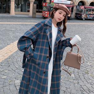 EACHIN Donne Moda Plaid lana Doppio Petto Cappotto invernale spessore caldo girano-giù Tasche Streetwear lungo Outwear 9VTL