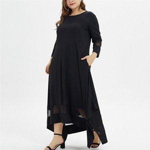 Повседневные платья платье Свободные женщины сплошной с длинным рукавом Boho старинные этнические осени мусульманка Maxi плюс размер ретро Vestido Mujer1
