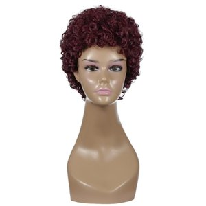 Instock Wholesale Reddish brown Wig High Temperature Fiber Synthetic Wigs For Women Low price guaranteed quality short human hair wigs