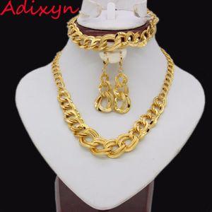Adixyn Ethiopian Wedding Jewelry Sets Gold Color Necklace Earring Bracelet Jewelry African Eritrea India Women Gift J1202