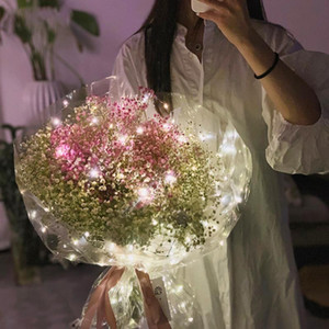 5Pcs Set Bouquet Packaging Film Creative With Led Light Transparent Wrap Cellophane Flower Decorative Crafts Wrapping Paper