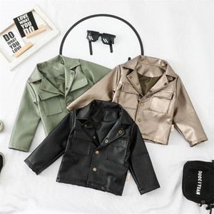 new Kids Jackets Autumn spring Baby Boys Jacket Coat Children Faux Leather Coats Outerwear Boy Clothing 1 2 3 4 5 Years 201209