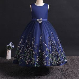New Princess Lace Dress Kids Flower Embroidery Dress For Girls Vintage Children Dresses For Wedding Party Formal