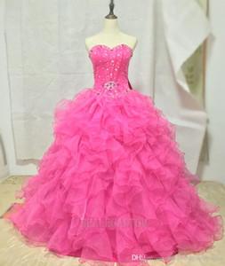 2021 새로운 Quinceanera 드레스 organza와 함께 공 가운 티에 지어진 러프 구슬 달콤한 15 드레스 푸티 레인 Quinceanera 가운