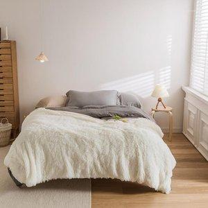 Lrea Couverture blanche chaude pour le lit Hiver Home Décoration Couvertures moelleuses douces hiver 120x150cm1