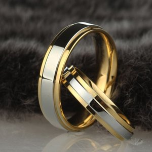 Stainless steel Wedding Silver Gold Color Simple Design Couple Alliance 4mm 6mm Width Band Ring for Women and Men