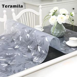 Teramila 1.5mm Mantel de vidrio suave imprimido PVC Transparente Transparente Tabla impermeable Tabla a prueba de agua para cocina Comedor