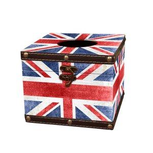 Vintage Tissue Box Europäischen Stil Leder Papierhalter Union Flag Servietkin Etui Für Heim Auto Restaurant