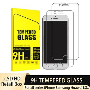 2.5D حامي الزجاج المقسى للهاتف 12 XR 11 برو ماكس XS 8 7+ 8+ 6S 6+ 9h شاشة Anit-بصمة مضادة للخدش مع صندوق البيع بالتجزئة