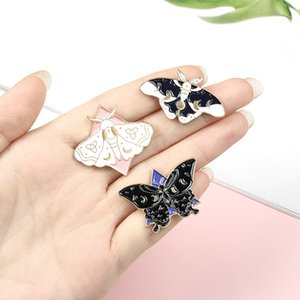 Cartoon Animal Pins White Black Moth Butterfly Enamel Brooches Fashion Break Cocoon Into Butterfly Badges Clothing Denim Pin Accessories