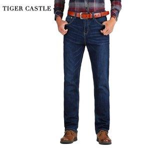 TIGER Castle Свободные прямые джинсы мужские эластичные хлопковые классические мужские растягивающие джинсовые брюки бренды весна осень мужские длинные брюки