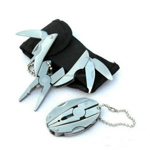 Mini folding tongs Multi function Pliers including screwdriver filer floding knife keychain outdoor equipment hand tools drop ship