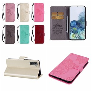 Case For Samsung S30 Plus Ultra S20 FE A01 Core M51 A42 5G A81 A91 Imprint Owl Leather Wallet Flower Lace Mobile Phone Flip Cover Holder