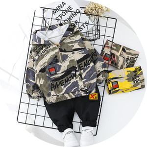 Kid Boy Clothes Camouflage Baby Suit Hooded Camo Top Pants Sport Children Kids Outwear Baby Gifts Newborn Boys Green CY200515